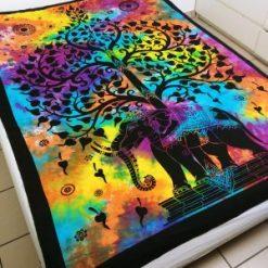 Tenture murale indienne elephant arbre de vie