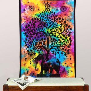 Tenture indienne éléphant et arbre de vie