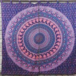 Rideau tenture murale indienne mandala éléphant