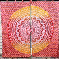 Rideau tenture murale mandala rouge fleur de vie