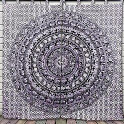 Tenture Rideau Mandala mural noir et blanc elephant