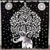 Tenture Rideau éléphant et arbre de vie noir et blanc univers