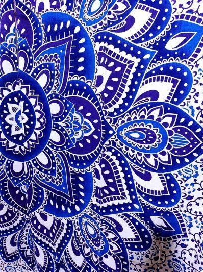 Rideau mandala bleu fleur de vie