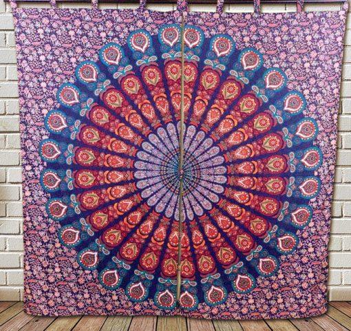 Tenture Rideau mandala fleur de vie multicolore pas cher