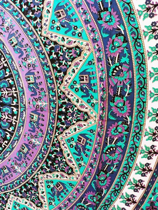 Tenture rideau yoga rose et bleu