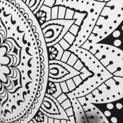 Rideau mandala noir et blanc fleur de vie