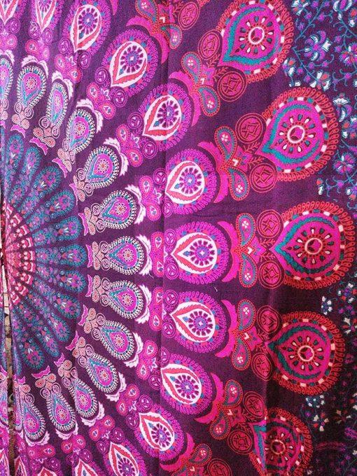 Rideau Tenture indienne Mandala rose