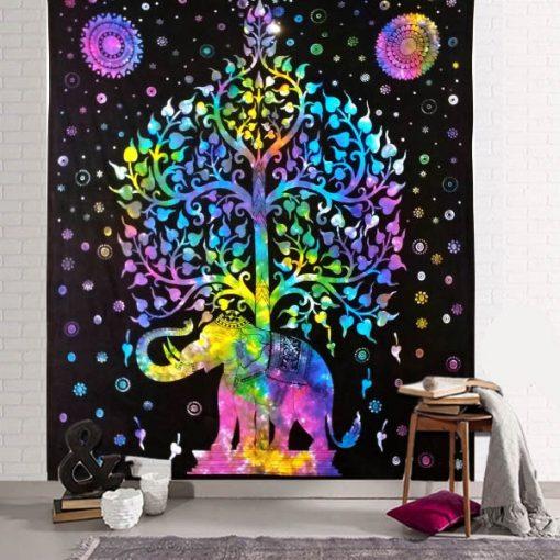 tapisserie murale elephant et arbre de vie