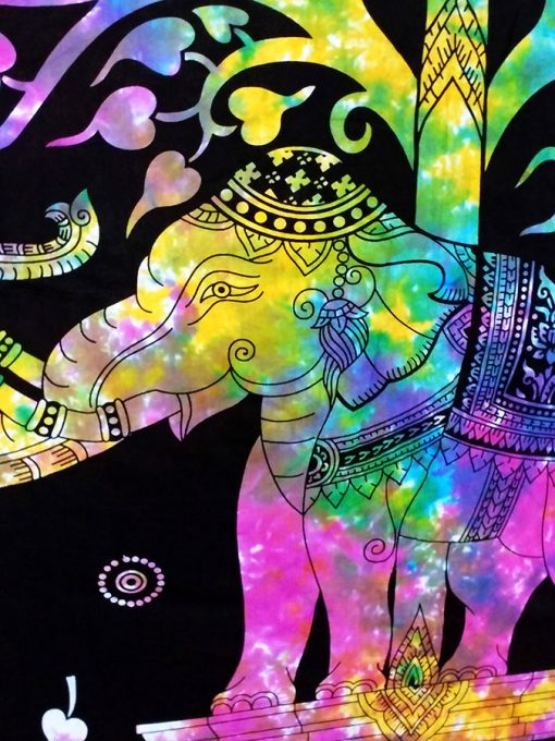 Tenture murale indienne elephant hippie multicolore