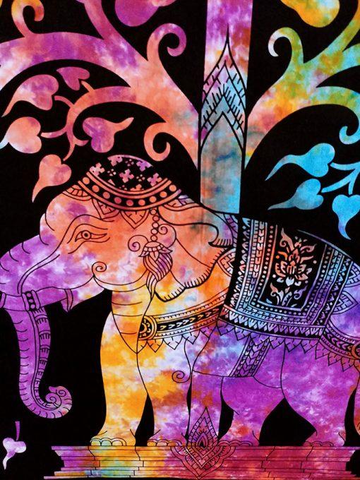 tenture murale indienne elephant multicolore