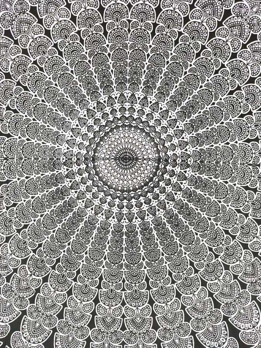 Tenture Mandala Mural noir et blanc zen et pas cher