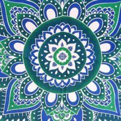 Tenture boheme Mandala fleur de vie bleue zen et hippie