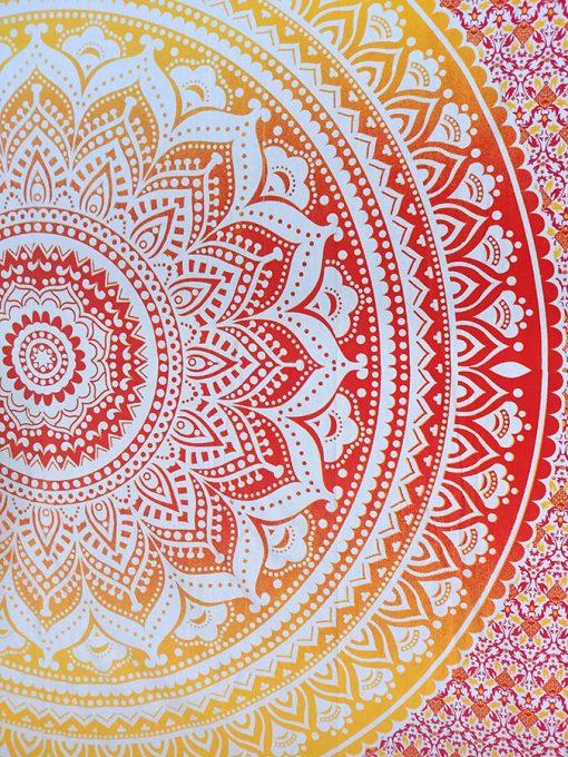 Tenture Murale Mandala Rouge et jaune pas cher
