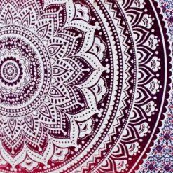 Tenture Yoga Mandala Rouge Fleur de vie hippie et bohème