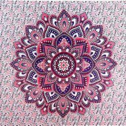 Tenture murale zen fleur de vie rose yoga