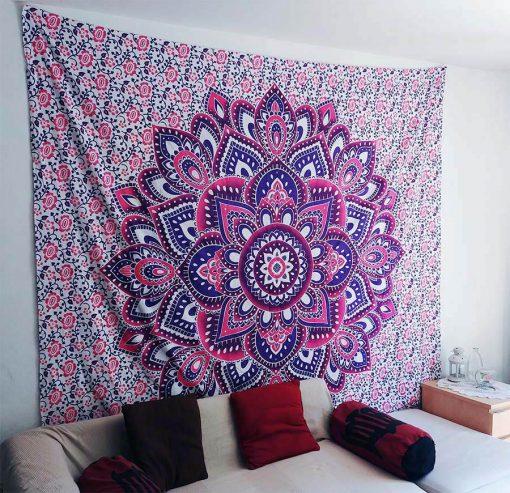 tenture murale zen fleur de vie rose