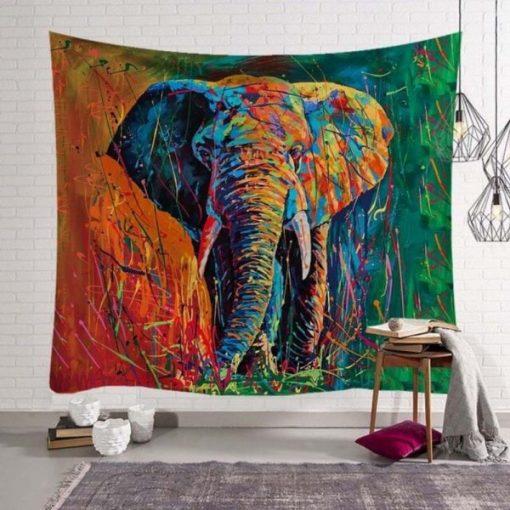 Tenture africaine éléphantaux couleurs hippies