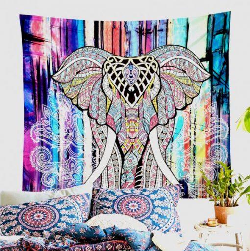 Tenture murale éléphant psychédélique