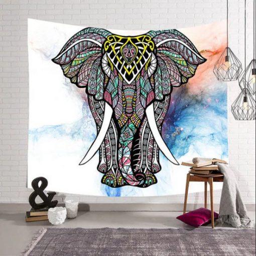 Tenture murale ethnique elephant mandala