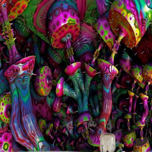 tenture psychedelique champignon uv