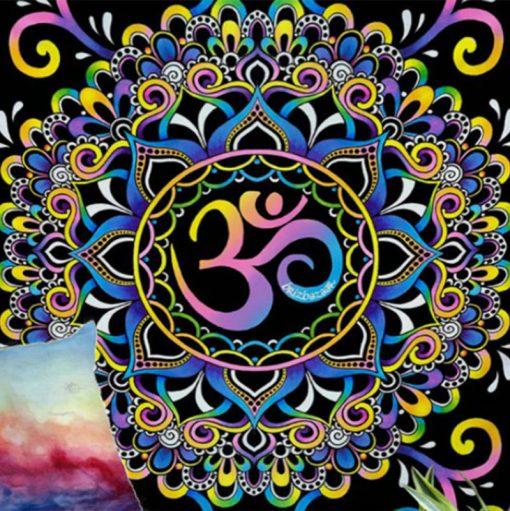 Tenture psychedelique ohm symbole