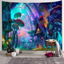 tenture psychedelique champignon magique uv