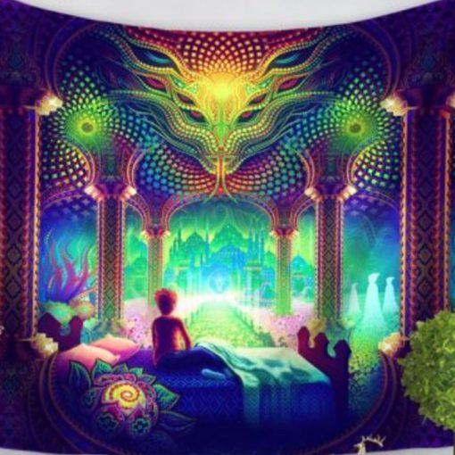 tenture psychedelique uv serpent