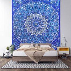 grande tenture murale mandala bleu
