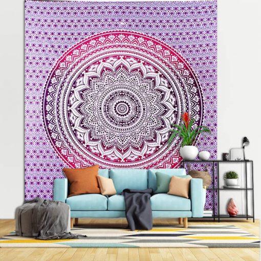 tenture murale mandala yoga rouge