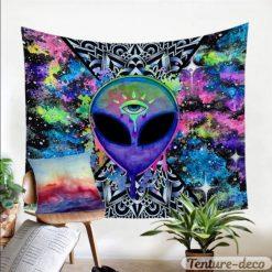 tenture murale psychedelique uv alien