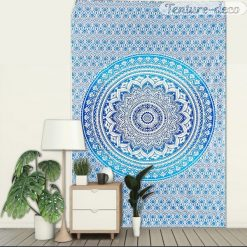 Tenture Murale indienne Zen Mandala Bleu