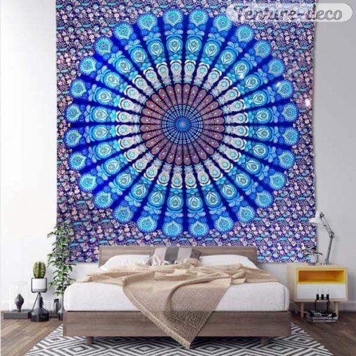 Tenture murale indienne mandala Bleue
