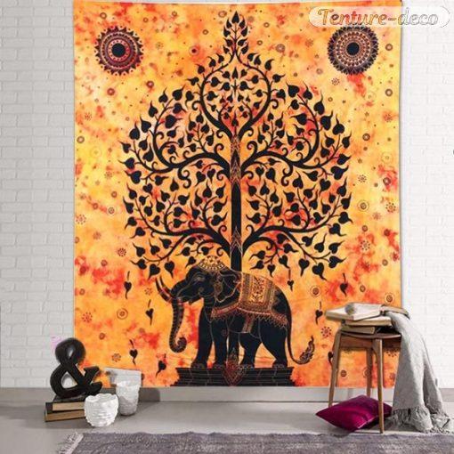 Tenture murale Indienne arbre de vie éléphant