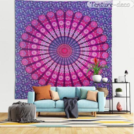 Tenture murale indienne Mandala Rose