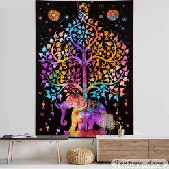 Tenture éléphant et arbre de vie
