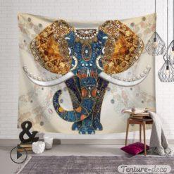 Tenture Africaine Eléphant Style Batik