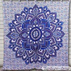 Tenture Rideau Mandala Bleu Fleur de Vie