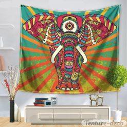 tenture murale elephant coloré