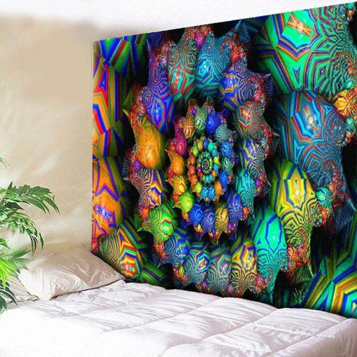 Tenture murale psychedelique fluo spirale