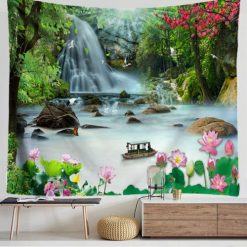 tenture murale lotus riviere magique