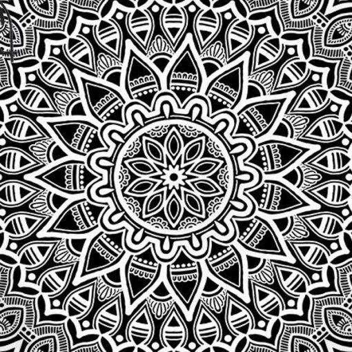 tewnture murale mandala noir et blanc