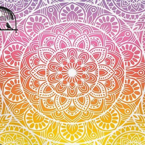 Tenture Mandala Yoga multicolore zen