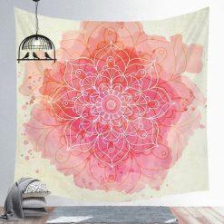 tenture murale mandala rose