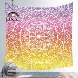 tenture murale mandala yoga rose