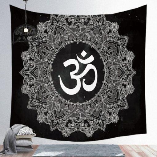 tenture murale mandala om noir et blanc