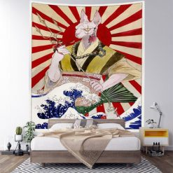 tenture murale japonaise neko kanawaga