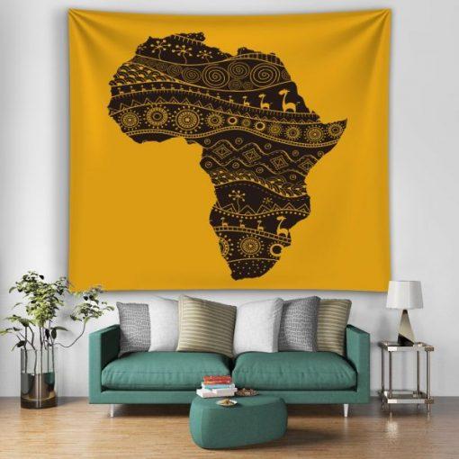Tenture Murale Carte de l'Afrique Mandala