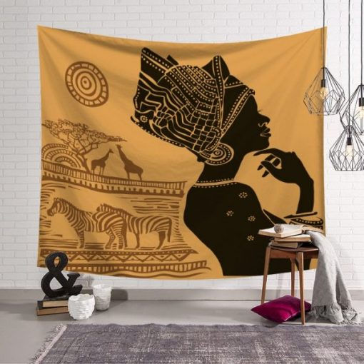 Tenture Africaine Femme et Zèbres