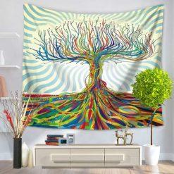 tenture murale arbre de vie colore