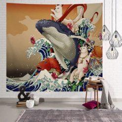 tenture murale japonaise baleine ukiyo